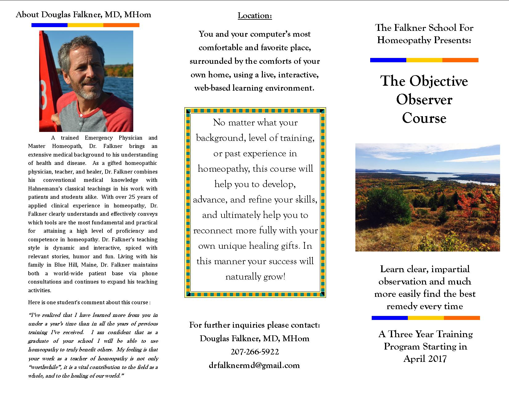 A Objective Observer Course 2017 Brochure Page 1